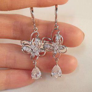18K White Gold Filled Butterfly Zircon Earrings